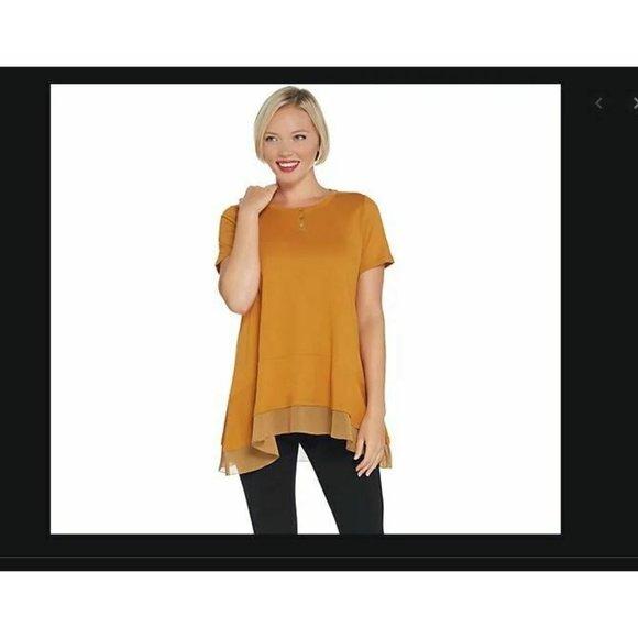 LOGO Lori Goldstein Short-Sleeve Knit Top XL Gold